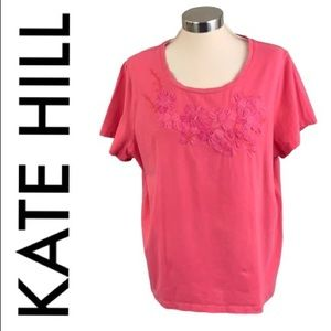 KATE HILL PINK FLORAL TOP SIZE 2X